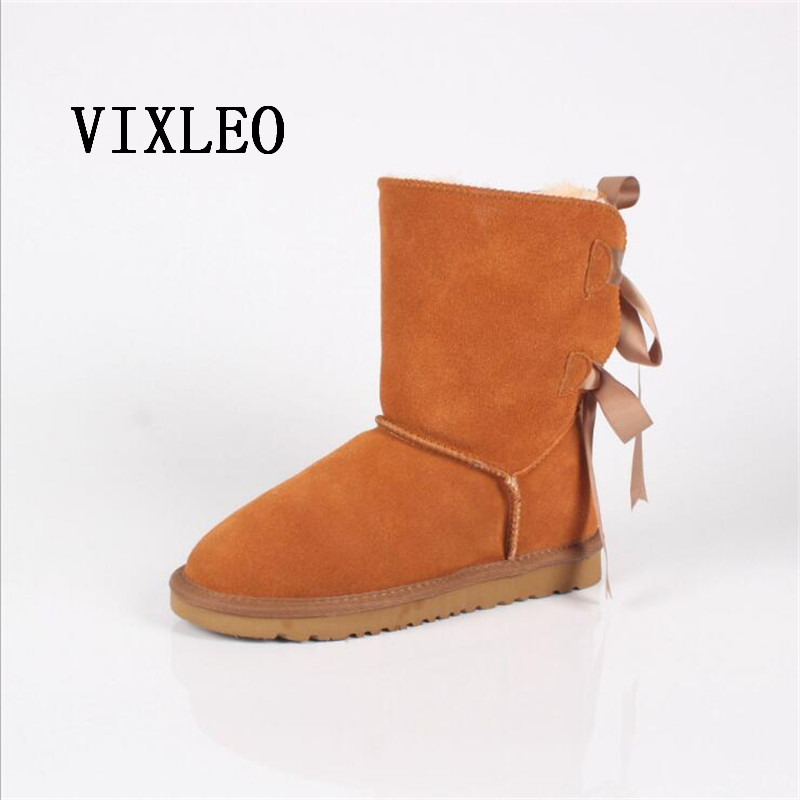 VIXLEO Fashion Women Snow Boots ugs Australia Classic Mini High Quality Genuine Leather Warm Unisex Winter boots ug botas mujer goncale high quality band snow boots women fashion genuine leather women s winter boot with black red brown ug womens boots