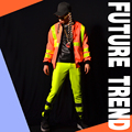 The male singer bar DJ orange reflective baseball pant suit male costume show for dancer nightclub performance show star