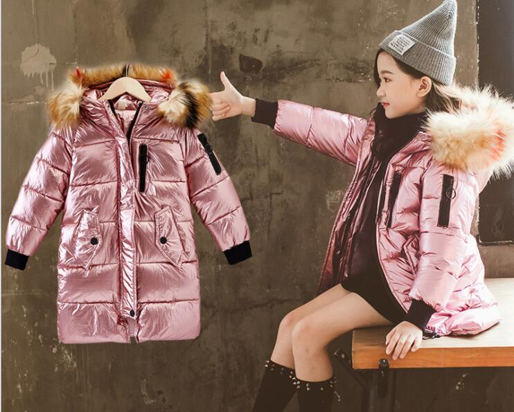 KICCOLY 2018 Baby Girls Pearlite layer Jackets Coats Warm Fur Collar Hooded Long Down Clothes Children Winter For Kid Outerwear