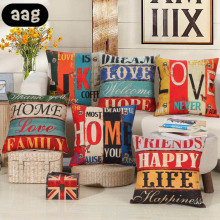 AAG Retro Vintage Pillowcase Pillow  Cover Linen Square Letter Pattern Cushion Outwear Couch Bed Home Decorative Pillowcover