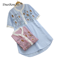 Women Summer Long Shirts Blouses Sweet Asymmetric Casual Loose Triped Floral Embroidery Cotton O Neck Lady