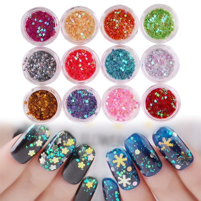 12 small boxes pentagram sequins sticker nail art mini 3d diy nail 12 small boxes pentagram sequins sticker nail art mini 3d diy nail stick nails tip dust prinsesfo Images