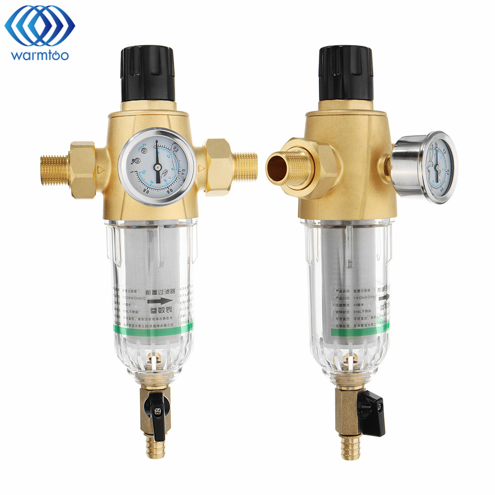 3 4 Or 1 2 Home Pre filter 50 microns Water Filter With Pressure Gauge Brass