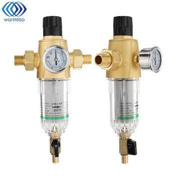"""3/4"""" Or 1/2"""" Home Pre-filter 50 microns Water Filter With Pressure Gauge Brass Siphon Backwash Tap Water Purifier"""