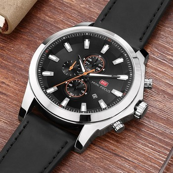 MINI FOCUS Fashion Chronograph Men Watch Sport Waterproof Mens Watches Quartz Man Clock Wristwatch Luxury Brand Leather