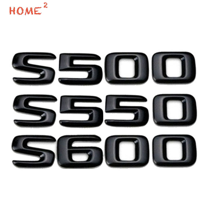 Letter S500 S550 S600 Metal Car Sticker for <font><b>Mercedes</b></font> Benz W211 W212 W210 <font><b>W208</b></font> Black Silver Rear Trunk Emblem Badge <font><b>Accessories</b></font> image