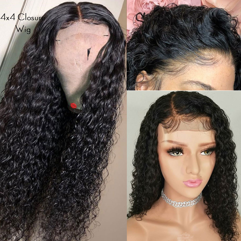 Malaysian Deep Curly Wave 4x4 Closure Lace Front Wig Pre Plucked Remy Human Hair Wig With