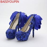 Blue Bow Knot Bridal Shoes 14cm Lace Sequins Women Wedding Shoes Nightclub Super High Heels Pumps