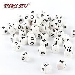 TYRY. HU 10 stücke Silikon Brief Perlen BPA Freies Englisch Alphabet Lose Perlen Für Baby Zahnen Schnuller Kette, Der Baby Beißringe