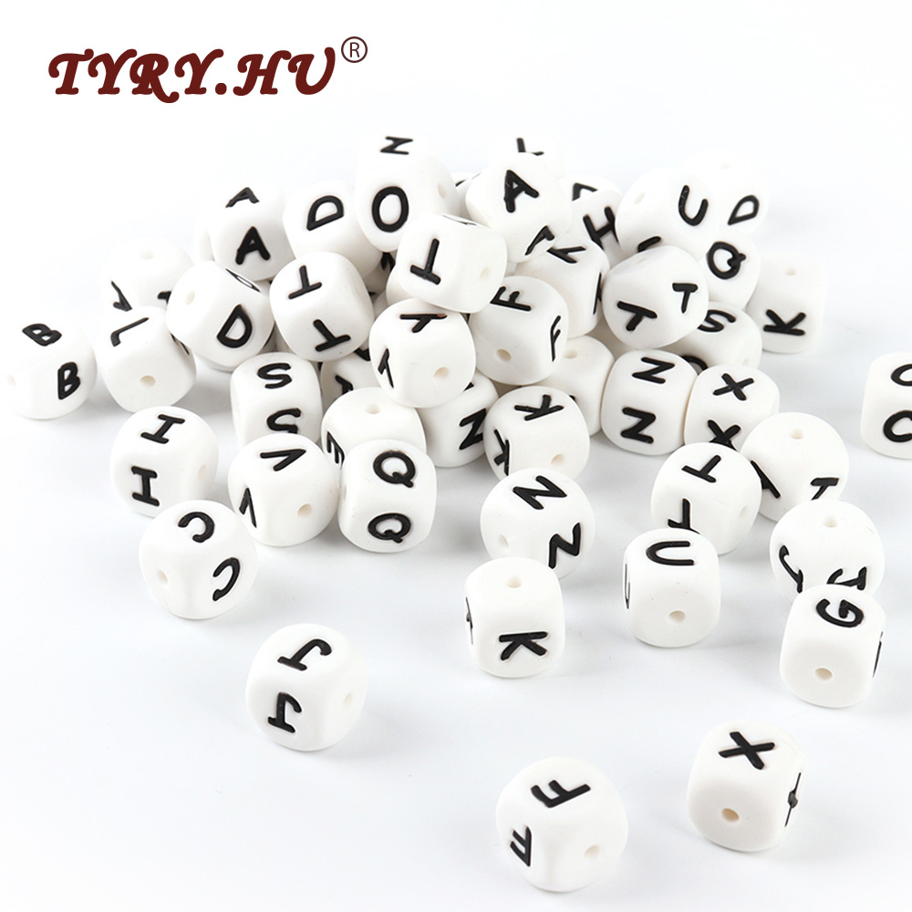 TYRY.HU 10Pcs Silicone Letter Beads BPA Free English Alphabet Loose Beads For Baby Teething Pacifier Chain Making Baby Teethers 10pc cube silicone letter beads personalized name letter bracelet chewing alphabet beads food grade silicone 12mm