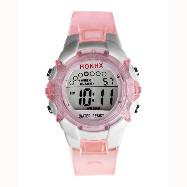 Children Watches Transparent Color Digital LED Alarm Date Kids Gift Sport Wrist