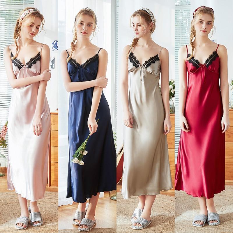 Roseheart Women Fashion Red Blue Sexy Sleepwear Nightdress Faux Silk Lace V Neck Nightwear   Sleepshirts     Nightgown   Sleepwear XL