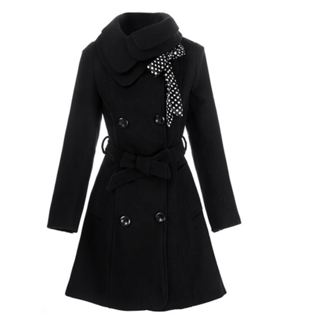 Free Shipping Women Winter Wool Coat Girl Double Breasted Cute Thicken Fur Collar Slim Long Sleeve Bowknot Jacket With Belt