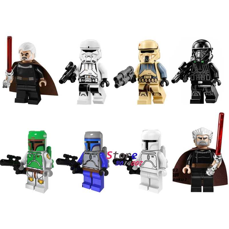 1 Pcs Verkoop Star Wars Jango Voeten Count Dooku Death Trooper Bouwstenen Action Figure Model Bricks Speelgoed Voor Kinderen