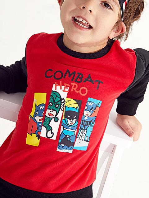 Balabala Kids Boys 2-Piece Graphic Sweatshirt + Pull On Pants with Side Stripe Set Children Toddler Boy