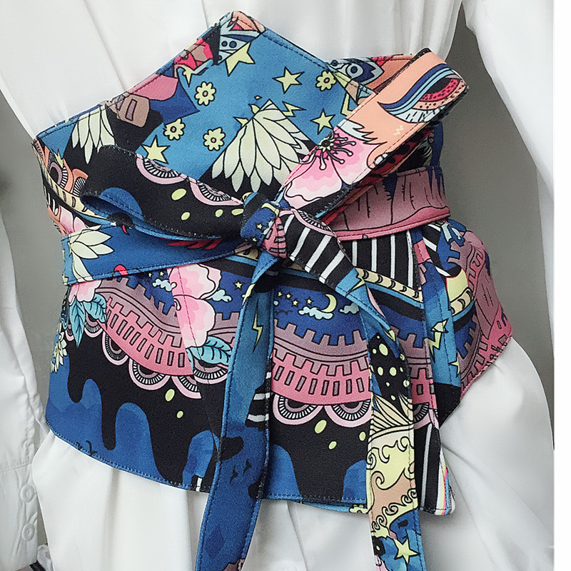 Women's Runway Fashion Vintage Print Cummerbunds Female Dress Coat Corsets Waistband Belts Decoration Wide Belt R1217