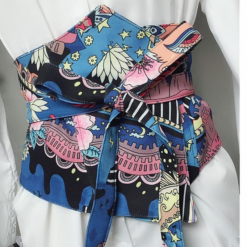 Women's Runway Fashion Vintage Print Cummerbunds Female Dress Coat Corsets Waistband Belts Decoration Wide Belt R1217