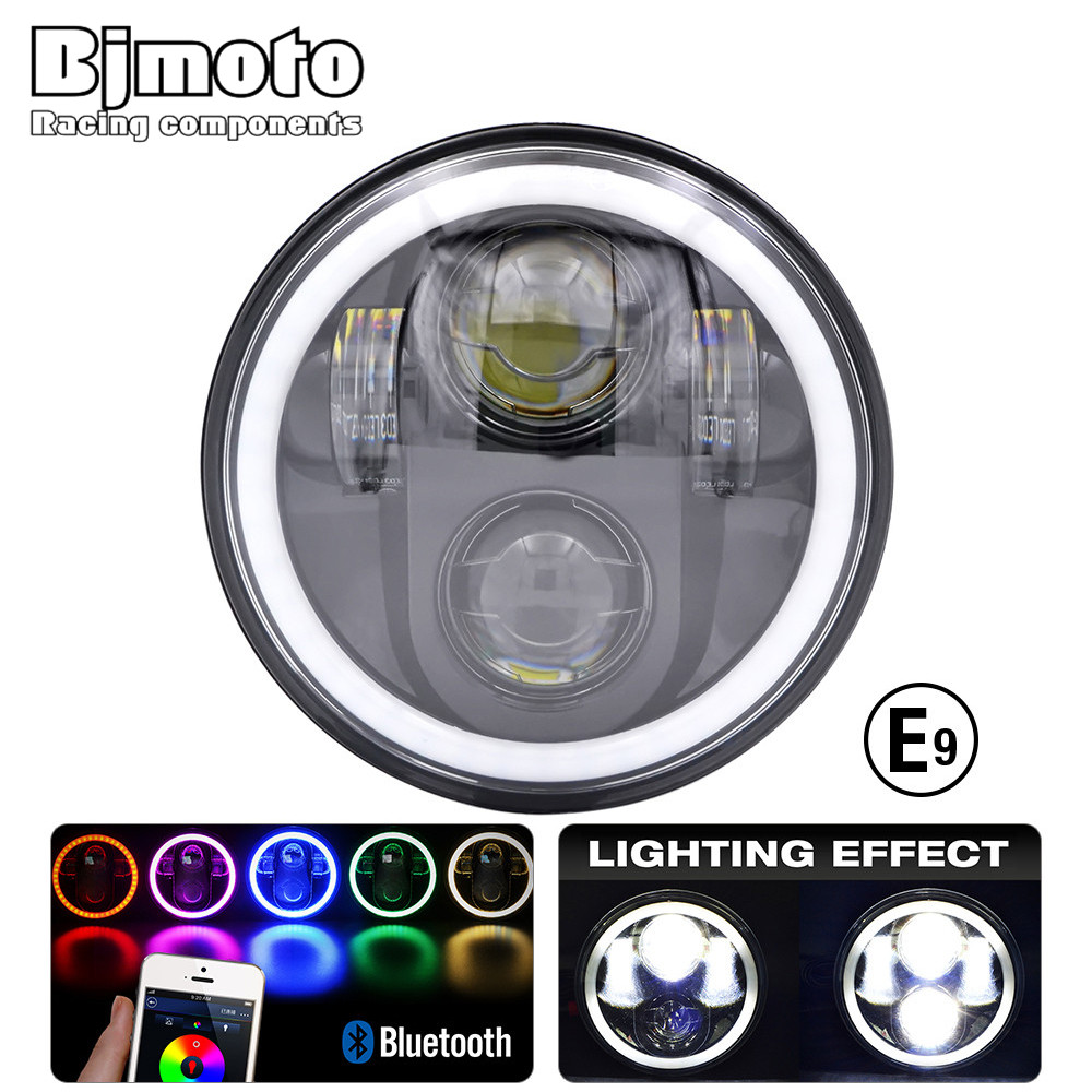BJMOTO 5-3/4 in. Led Motorcycle Headlight H4 RGB Phare Farol Moto for Harley Sportster Iron 883 1200 Dyna Street Bob Fog Lights цена и фото