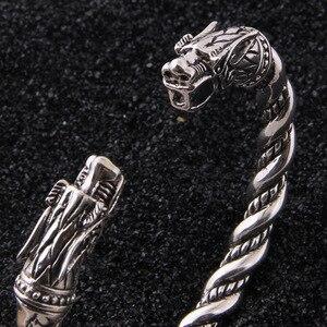 Image 3 - Yage DropShipping 925 Sterling Silver rune Dragon/Wolf viking bangle adjustable