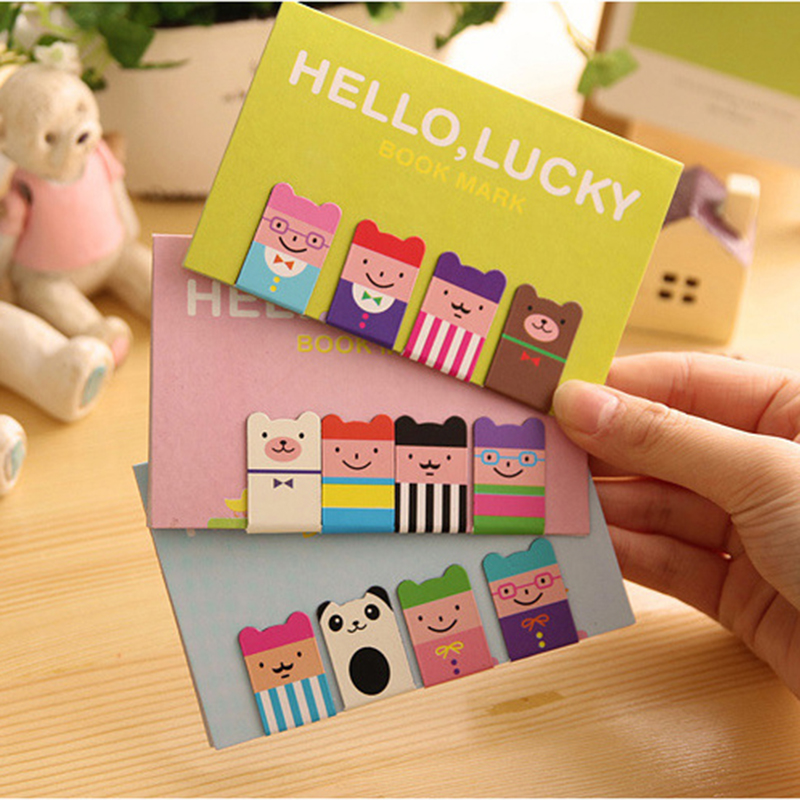 1 Sets Of 4 Cartoon DIY Cute Cartoon Luckboy Metal Magnetic Bookmarks For Book Gift Office Materials School Supplies