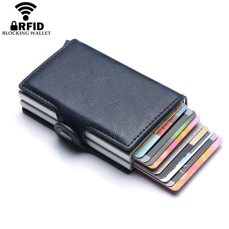 2019 Novas Camadas Duplas Anti RFID Cartão de Crédito de couro Dos Homens Titular do Cartão de ID de Caso de Cartão de Metal de Alumínio de Proteção de Viagem Masculina carteira