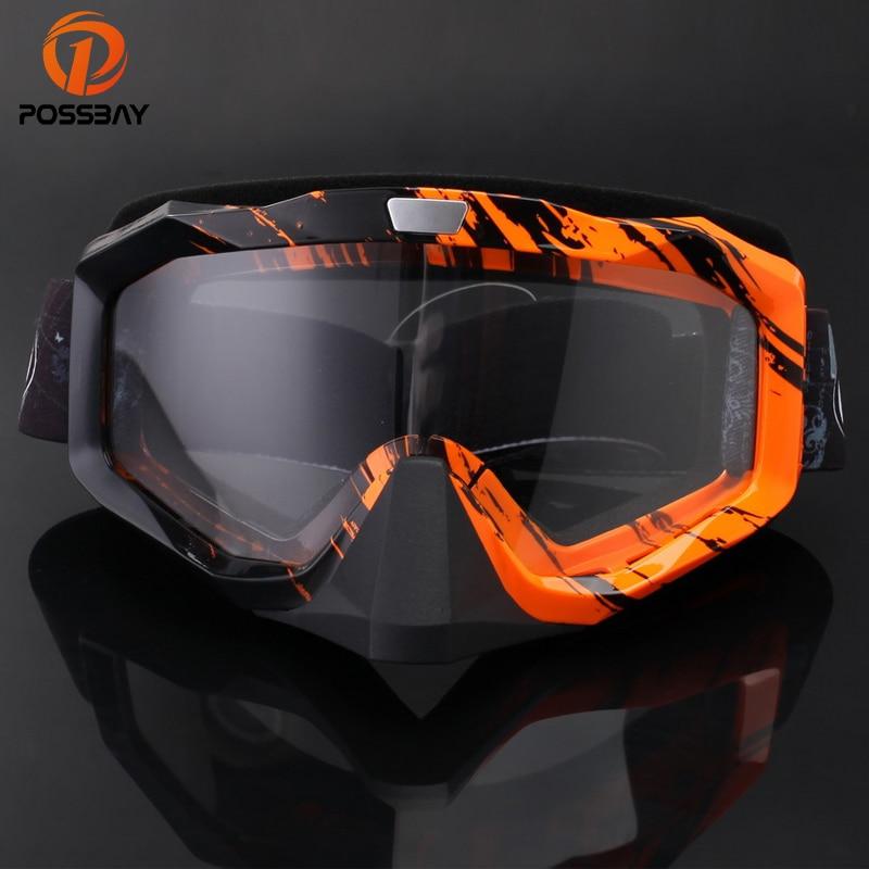 POSSBAY Men Women Motorcycle Goggles Helmets Motocross Glasses Ski Skate Goggles UV- Protection Eyewears Cafe Racer Goggles