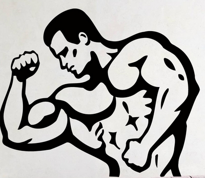 Fitness muscle man wall sticker man fitness sport gym pvc mural wall sticker fitness centre gym