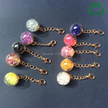 Crystal Glass Ball Long Chain Pendant Charms for Earring making 5pcs 55mm Length 16mm Dia with Gold chain and Lobster