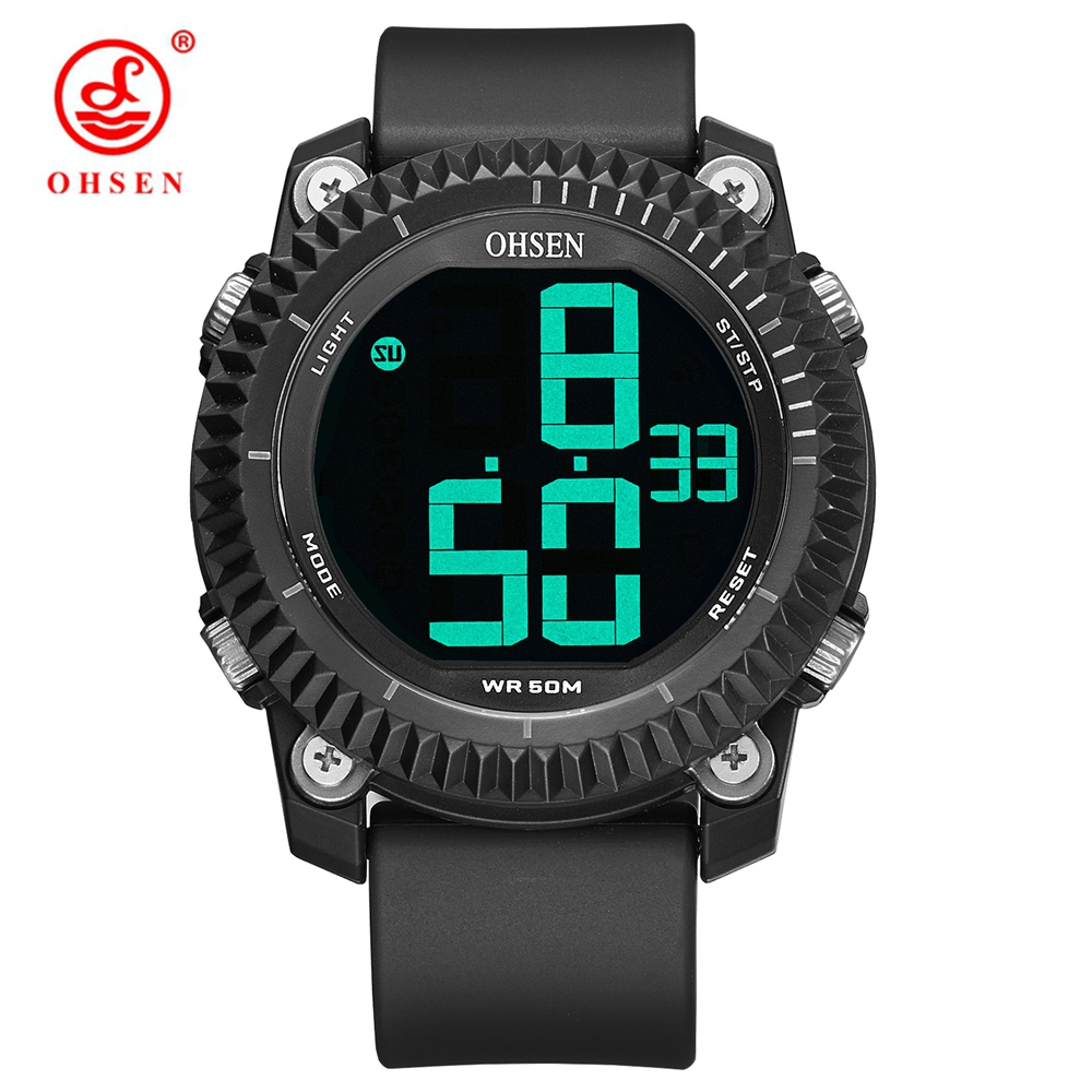 OHSEN Big Numbers Stopwatch Mens Digital Watches LED Date Waterproof 5bar Rubber Sports Wrist Watch Man Relogios MasculinoOHSEN Big Numbers Stopwatch Mens Digital Watches LED Date Waterproof 5bar Rubber Sports Wrist Watch Man Relogios Masculino