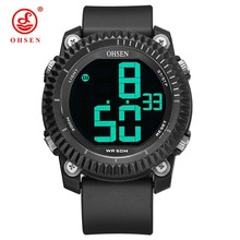 OHSEN Big Numbers Stopwatch Mens Digital Watches LED Date Waterproof 5bar Rubber Sports Wrist Watch Man Relogios Masculino splendid fashion electronic watch mens womens rubber led watch date sports bracelet digital wrist watch masculino reloje