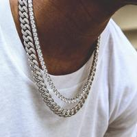 20 24 28 micro pave hip hop bling big cuban link chain Cool boy men jewelry hip hop bling iced out chain necklace