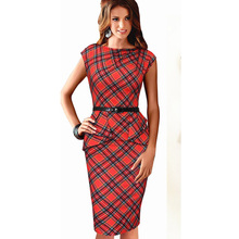 Dropshipping 2015 New Women Vintage Elegant Plaid Belted Tartan Peplum Ruched Tunic Work Party Cap Sleeve