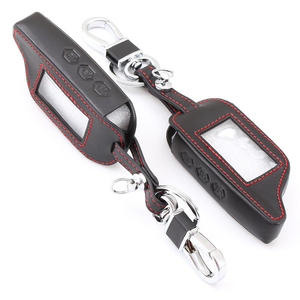 Кожаный чехол для ключей с 3 кнопками для Starline B9 B6 A91 A61 Twage Двусторонняя автомобильная система сигнализации брелок