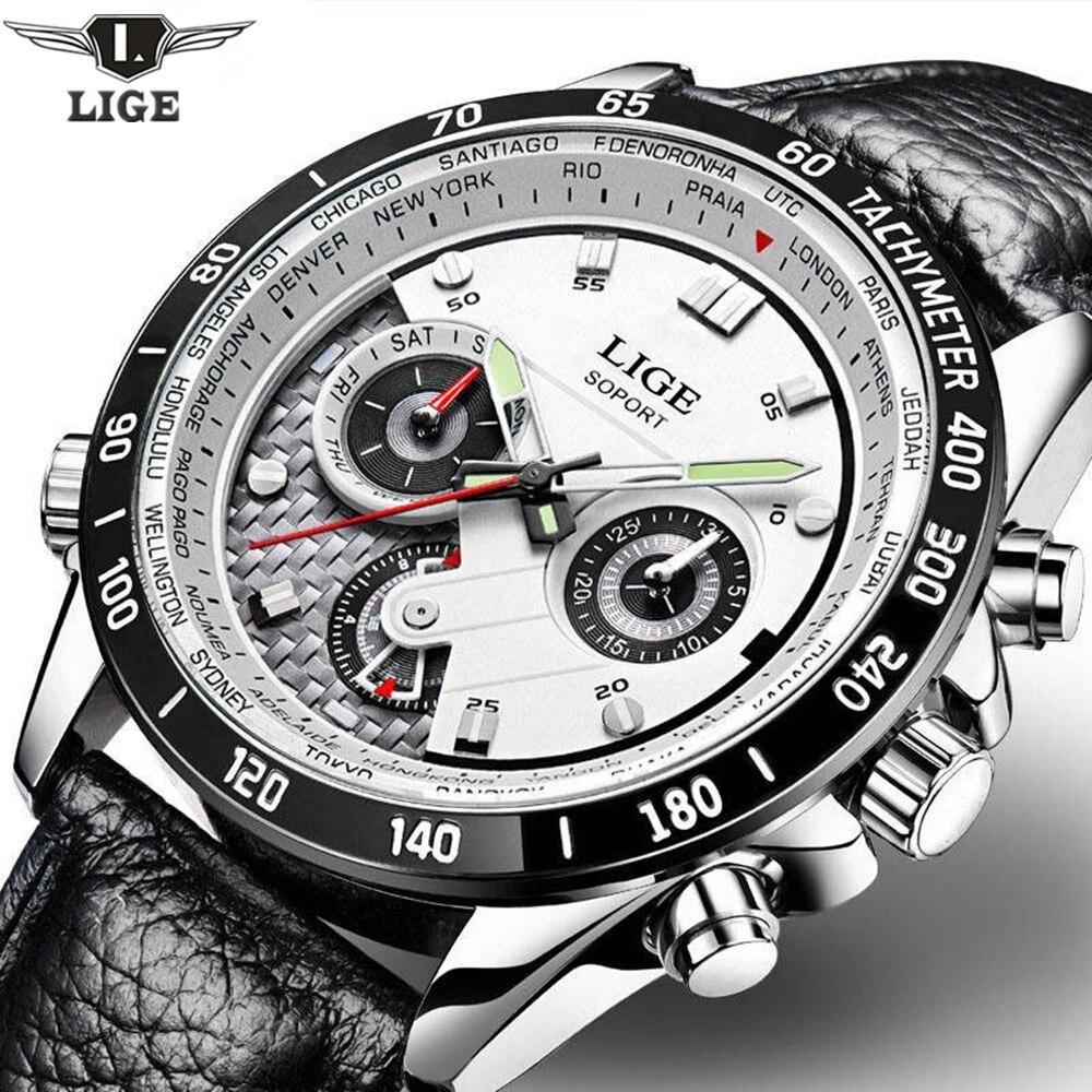 LIGE De Mode Chronographe Sport Mens Montres Haut Marque De Luxe Quartz Montre Reloj Hombre 2017 Horloge Mâle Heure Relogio Masculino