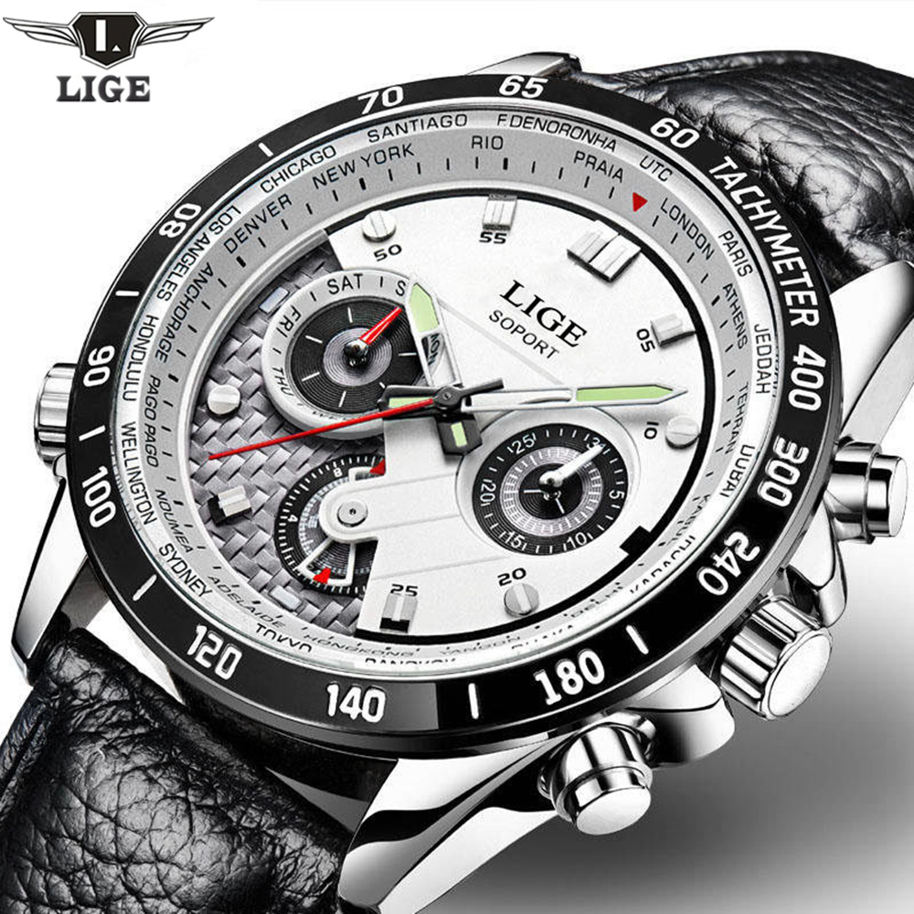 LIGE Fashion Chronograph Sport Mens Watches Top Brand Luxury Quartz Watch Reloj Hombre 2017 Clock Male Hour Relogio Masculino свечи зажигания denso vxuh22i vxuh22 ix35