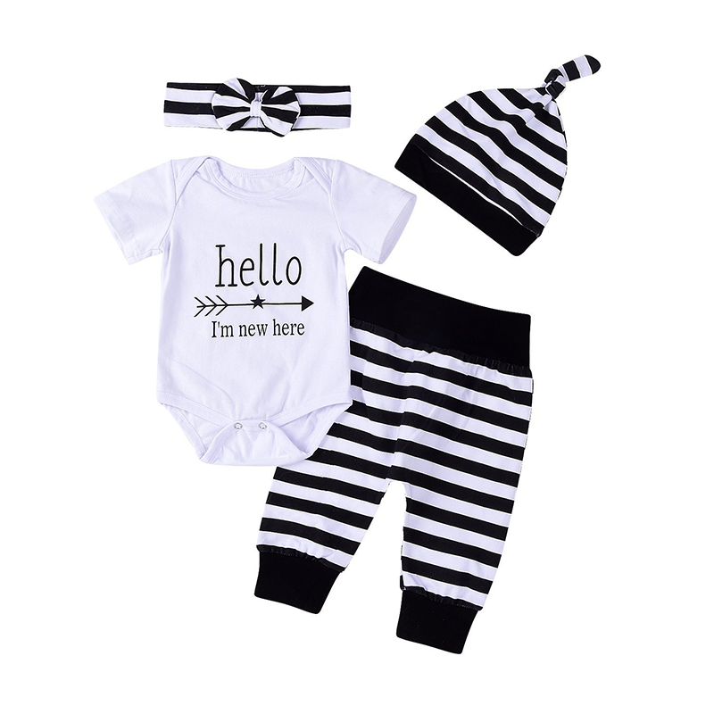 Newborn Infant 4pcs Set Outfit Striped Hoodie With Romper Jumpsuit+ Striped Long Pants and Hat Clothes Outfits ship from USA