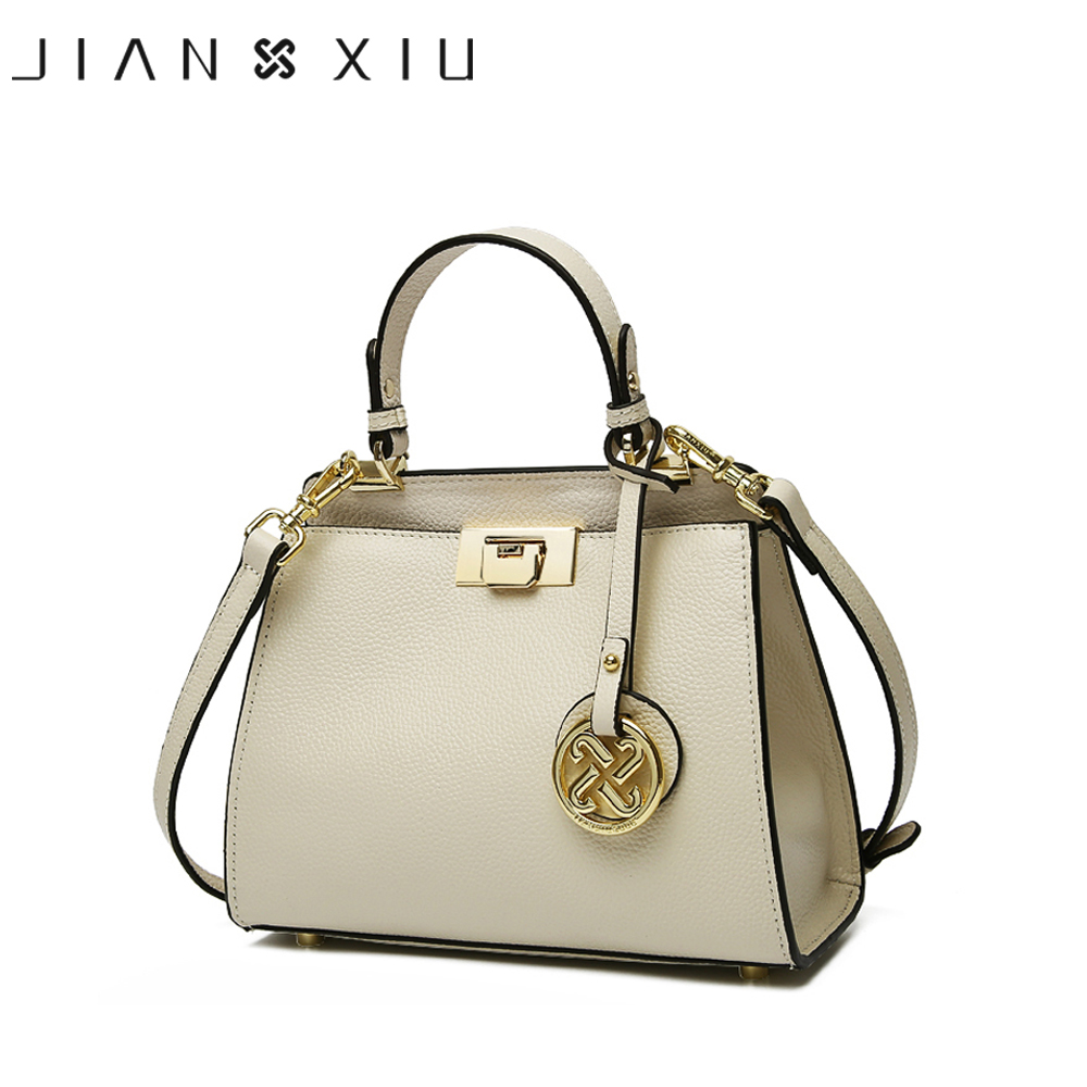 JIANXIU Brand Women Genuine Leather Handbags Famous Brands Handbag Messenger Bags Small Shoulder Bag Tassel Metal Lock Tote Bags zooler 100% real natural genuine leather women small handbag high quality famous design brand bags tassel shoulder messenger bag