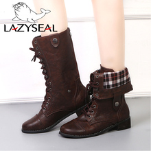 LazySeal Lace-up Cross-tied Winter Boots Women Shoes Mid-Calf Wood Square Heels Zipper Leather Military Biker Motorcycle Boots