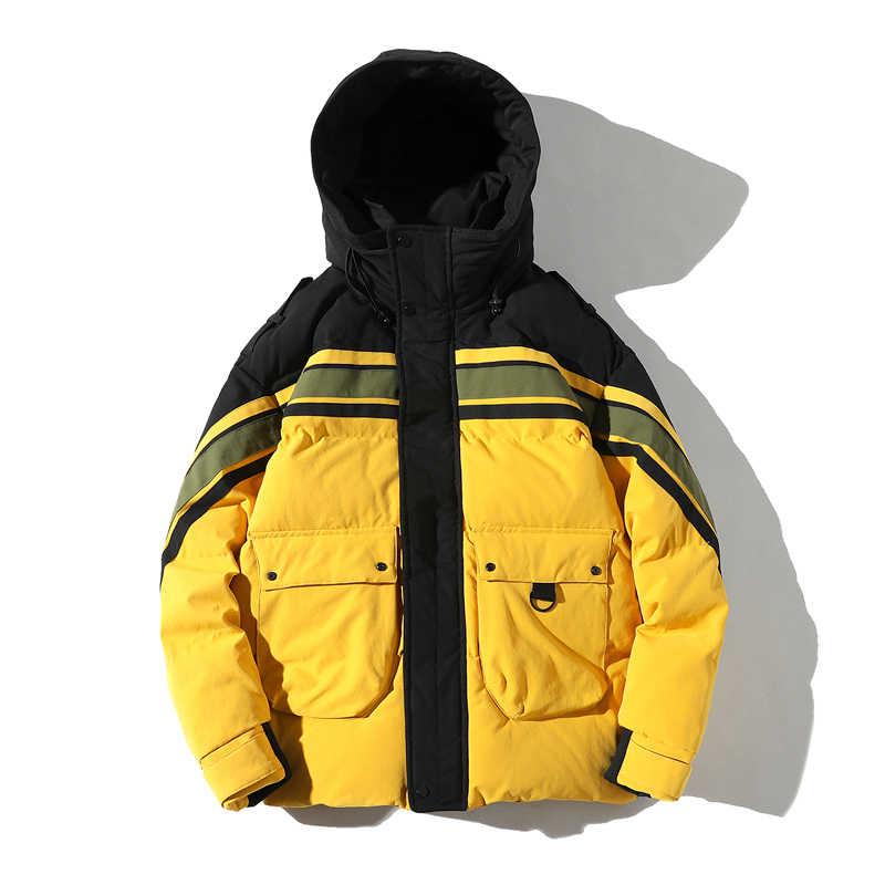 ヒップホップ暖かい冬のジャケットの男性フード付きカジュアルコートパーカーストリート厚い高品質ウインドブレーカーコートの男性の服オーバーコート