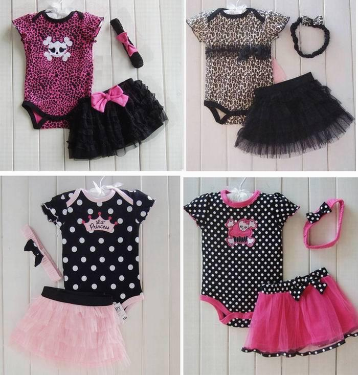 New Fashion Baby Girl Clothes Baby Clothing Set Romper+Tutu Skirt + Headband Newborn Bebe Spring Summer Dress
