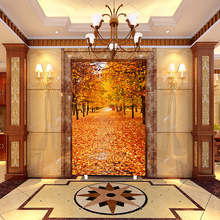 Customized mural wallpaper 3D sense of sight maple leaf pattern as background  the porch corridor or enter hall