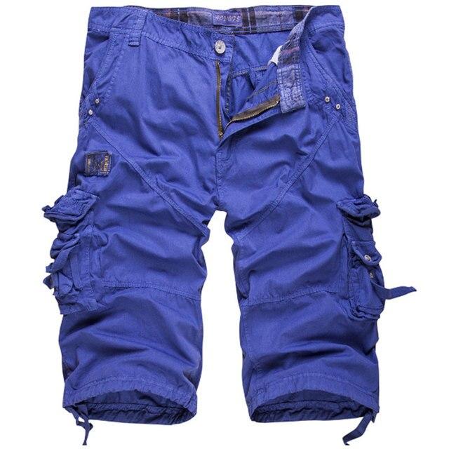 New arrival solid casual knee length shorts men cargo short pants Multi-pocket tooling shorts large size Cotton shorts men 1