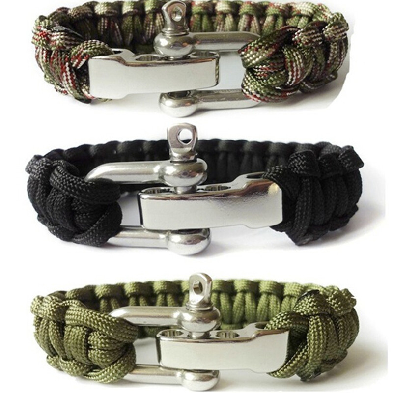 Camping Survival دستبند مردان Camping Outdoor Woven Parachute Shackle Pin Buckle Adjustment دستبند کیت فوری