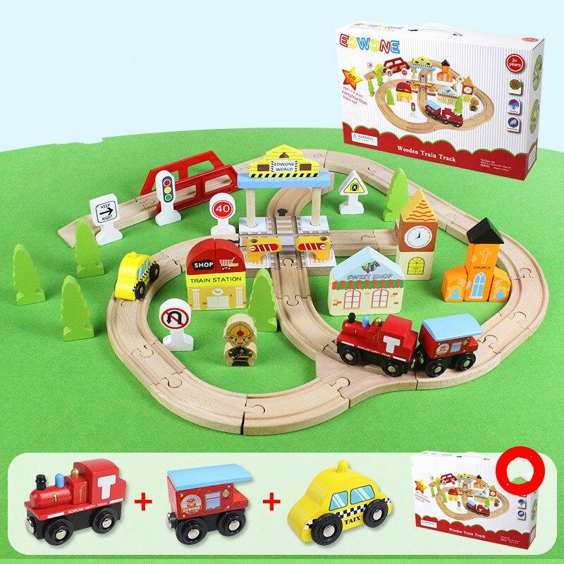 Kids EMU Wooden Train Track Set Crossroads Traffic Track Train Set Wooden Railway Children's Educational Assembled Train Toy