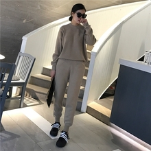 Crop Top And Skirt Set Real O-neck Full 2016 New Autumn And Winter Cashmere Set Thick Wool Sweater + Trousers Leisure Two-piece
