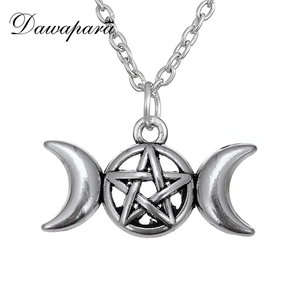 Dawapara Triple Moon Goddess Wicca Pentagram Magic Amulet Talisman Men Colgante Moon Necklace Women Tibetan Vintage Jewelry