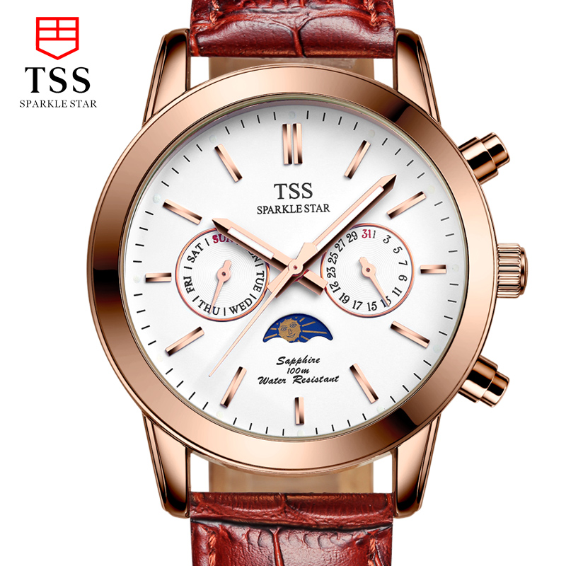 TSS Moon phase Astronomical chronograph font b men s b font font b quartz b font