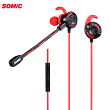 Somic G618 In Ear Gaming Earphones with Microphone for Computer Laptop 3.5mm Wired Headset for Pad Mobile phone