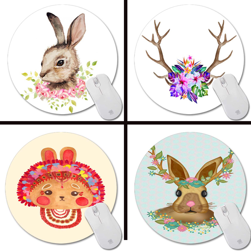 Paskalya bunny çiçek çelenk baskılar ile Mouse Pad Küçük Boy Yuvarlak Mouse Pad Kaymaz Lastik Pedi