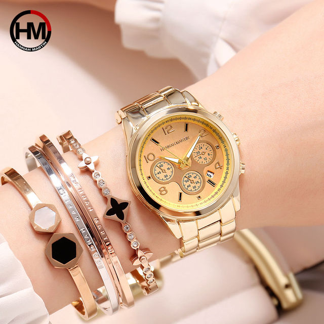 2018 Classic Women Rose Gold Top Brand Luxury Laides Dress Business Fashion Casual Waterproof Watches Quartz Calendar Wristwatch 3